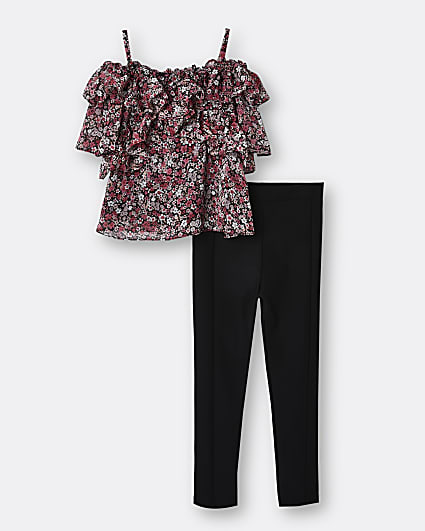 Girls black floral frill blouse top outfit
