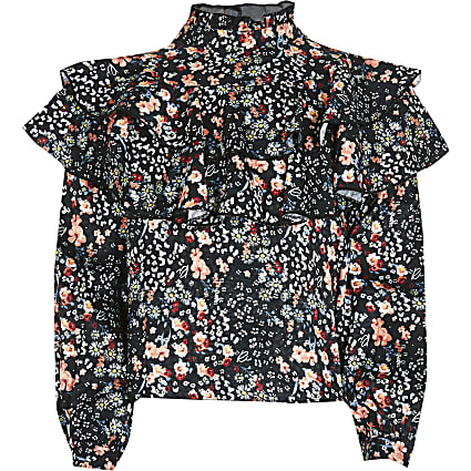 Girls black floral frill blouse