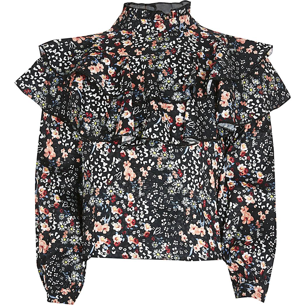 Girls black floral frill blouse