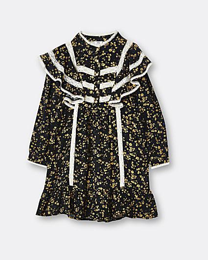 Girls black floral frill hem shirt dress