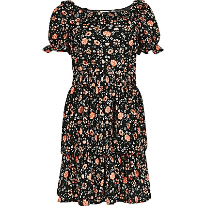 Girls black floral frill skater dress