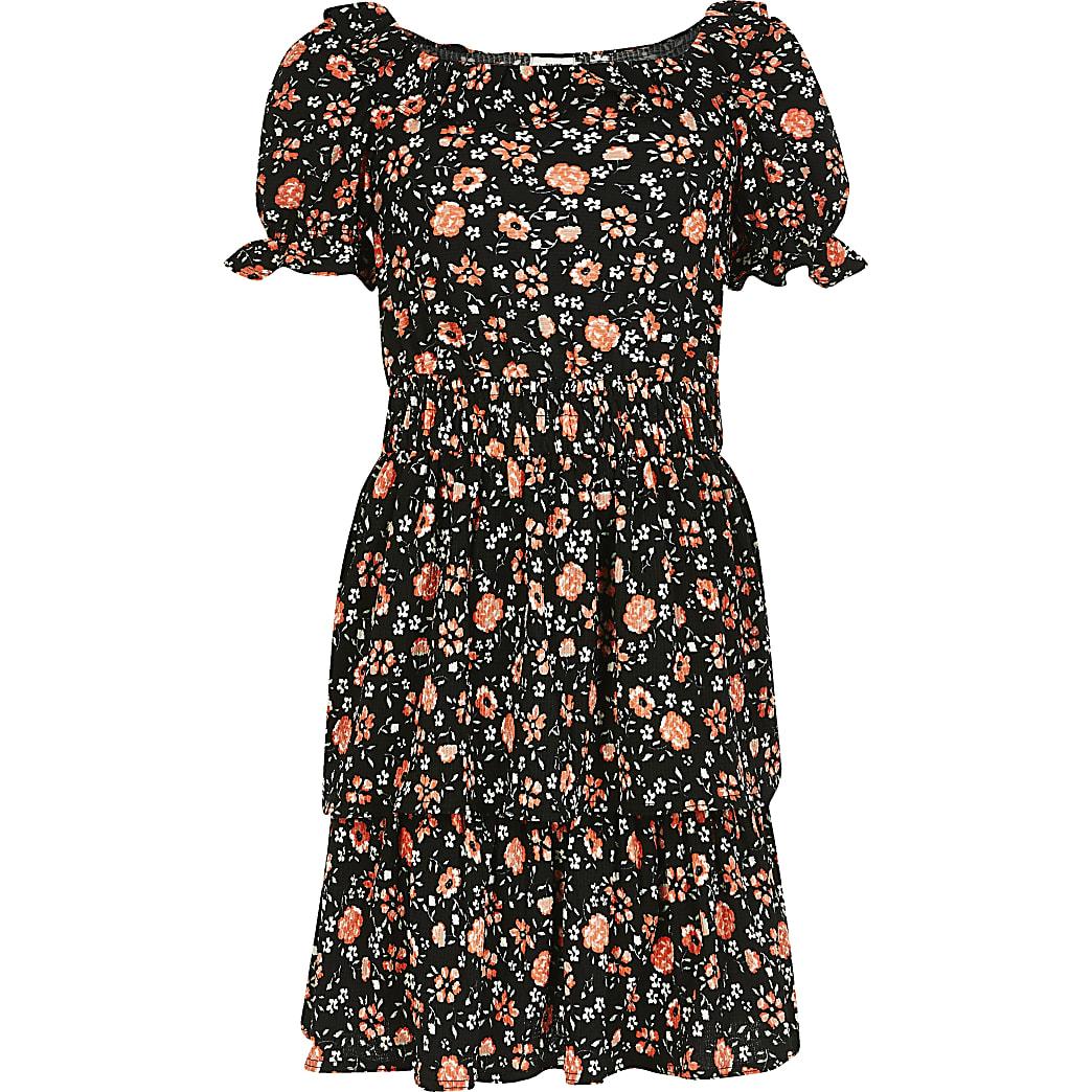 Girls black floral frill skater dress
