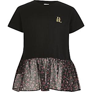 Zwarte T-shirt met bloemenprint en organza peplum voor meisjes