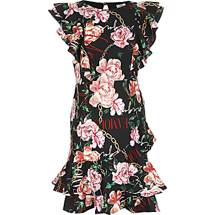 Girls black floral print skater dress