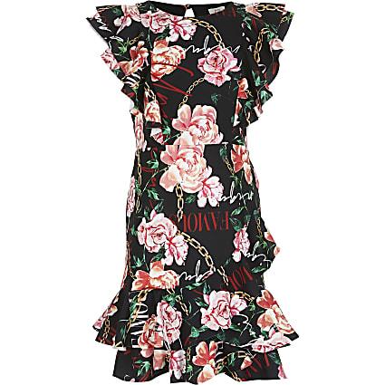 Girls black floral print skater dress