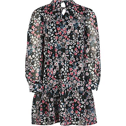 Girls black floral print tiered dress