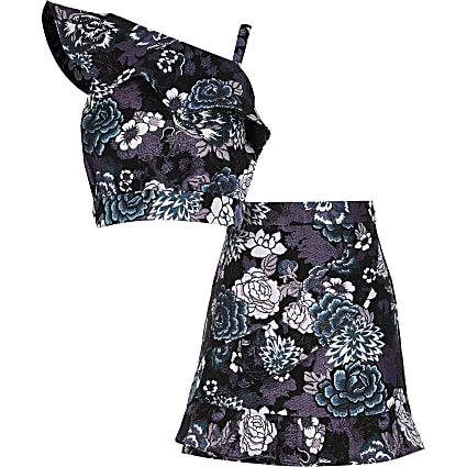 Girls black floral print top and skirt outfit