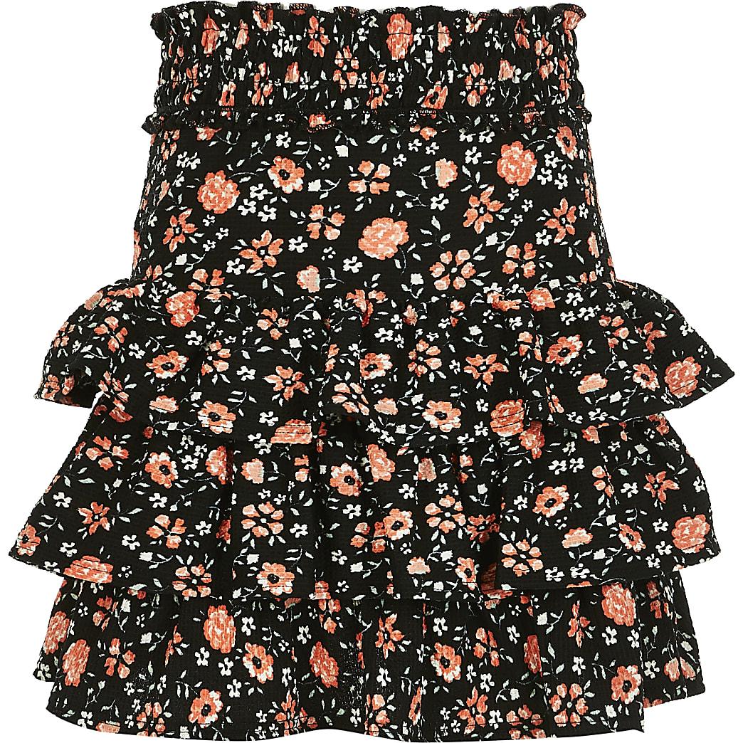 Girls black floral rara skirt