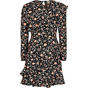 Girls black floral ruffle long sleeve dress