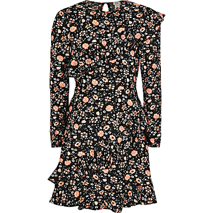 Girls black floral ruffle long sleeve dress