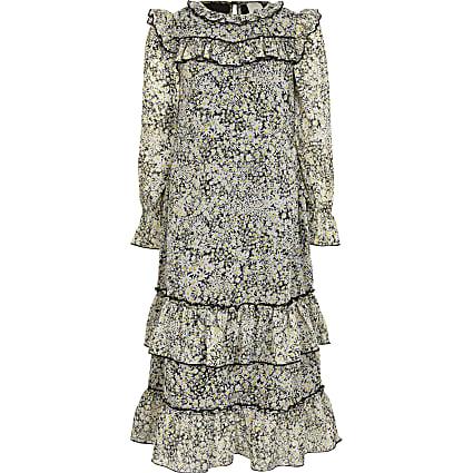 Girls black floral tiered frill maxi dress
