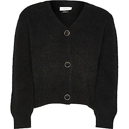 Girls black fluffy cardigan