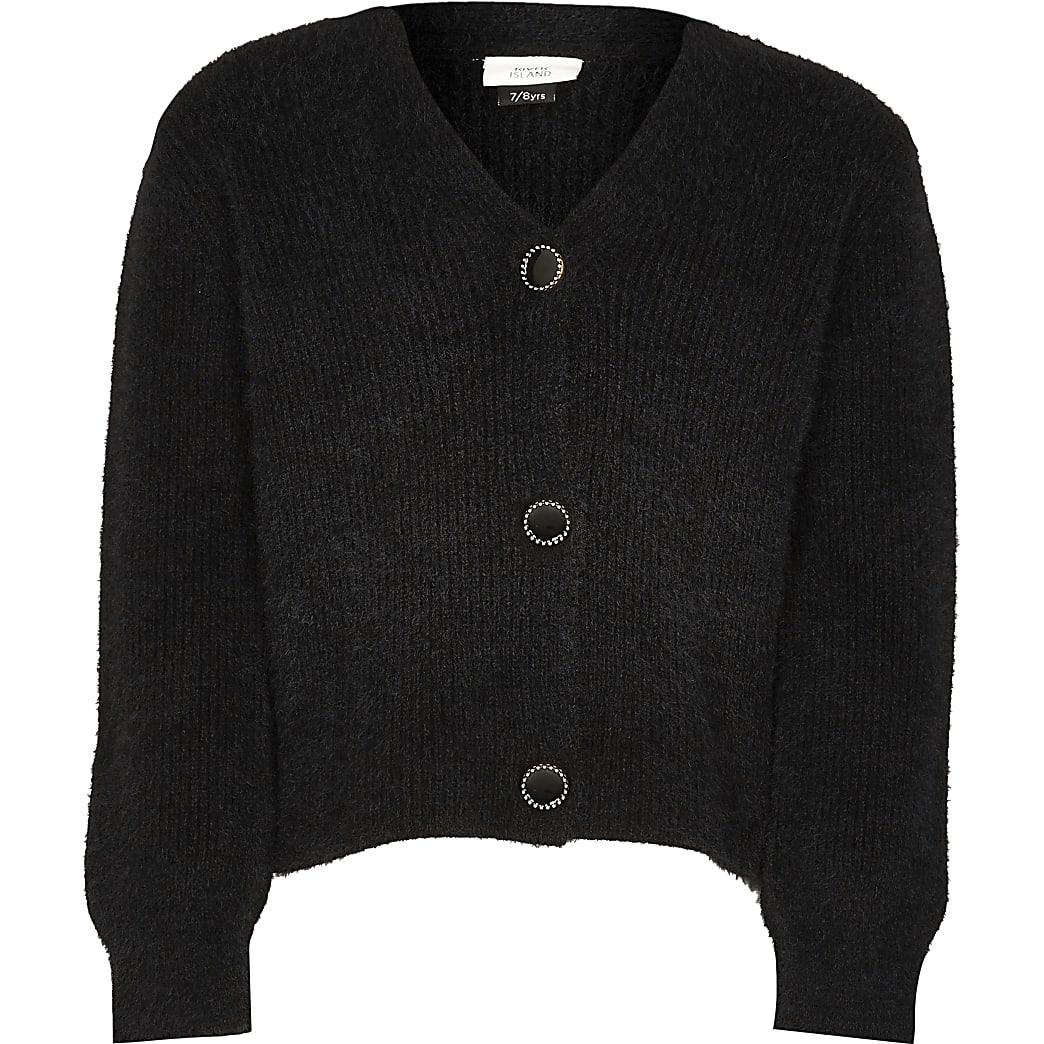 Girls black fluffy cardigan
