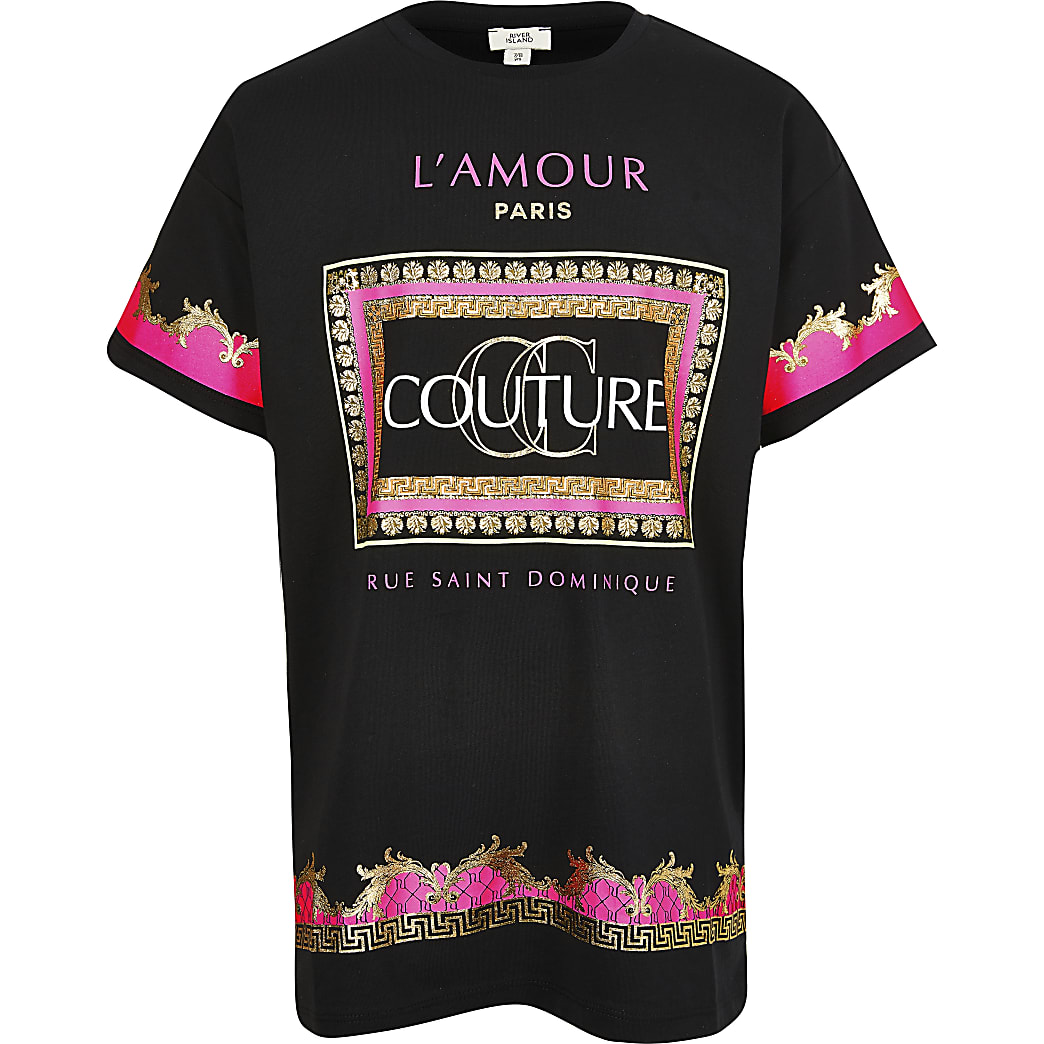 Girls black fluro couture t-shirt