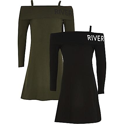 Girls black foldover skater dress 2 pack