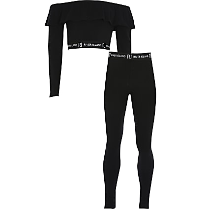 Girls black frill bardot and legging outfit