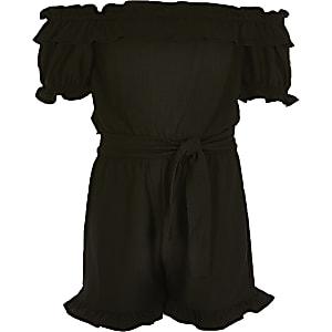 Girls black frill bardot belted playsuit