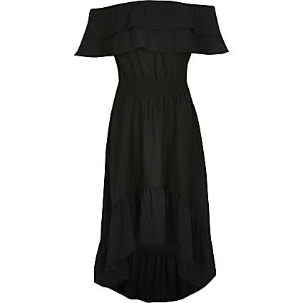 Girls black frill bardot maxi dress
