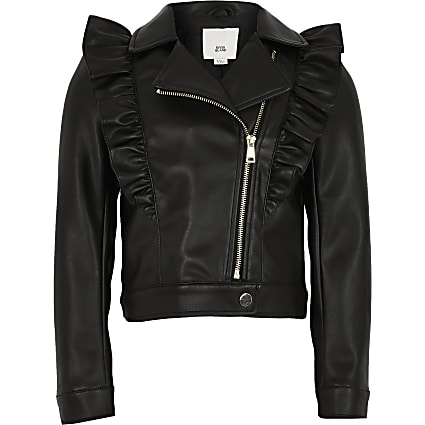 Girls black frill biker jacket