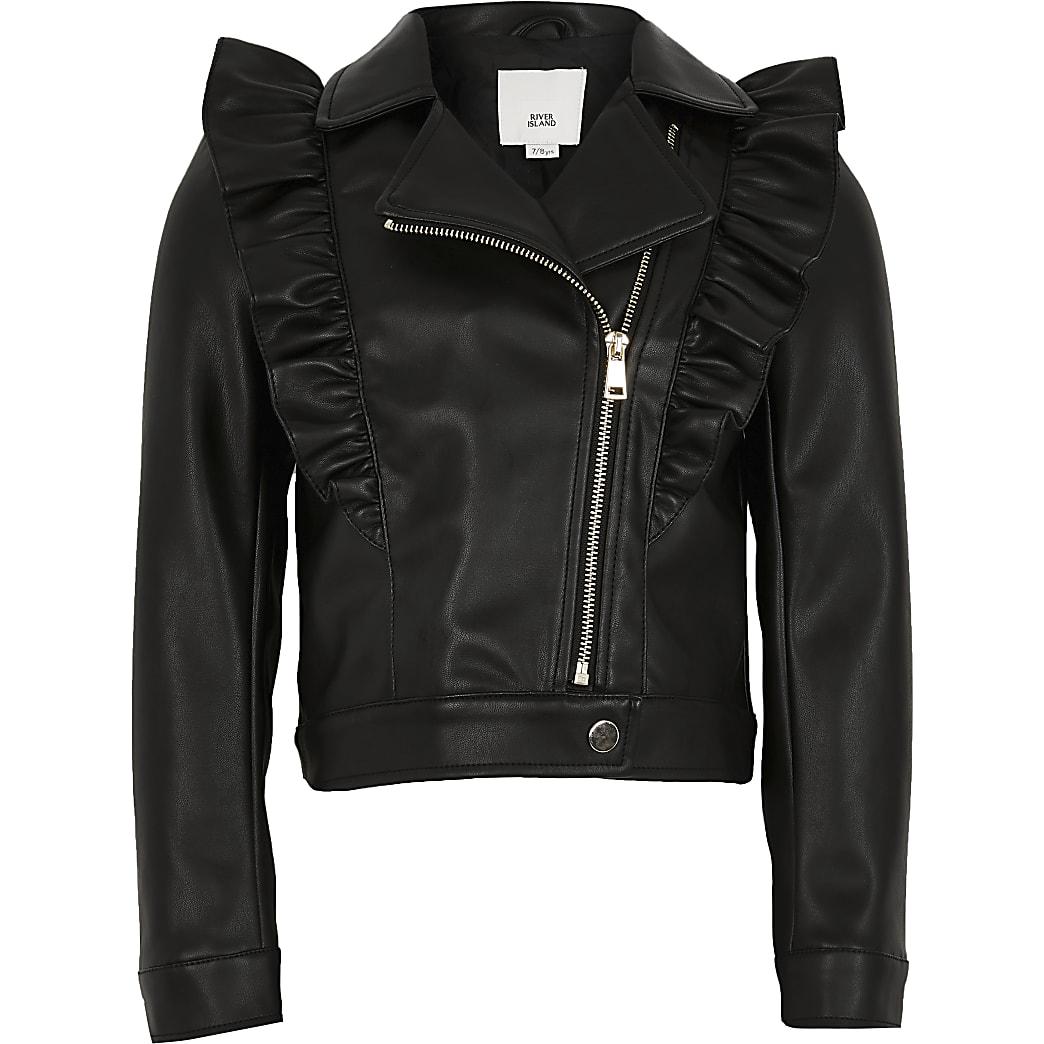 Girls black frill biker jacket