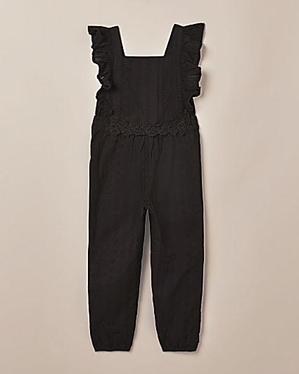 Girls black frill broderie jumpsuit