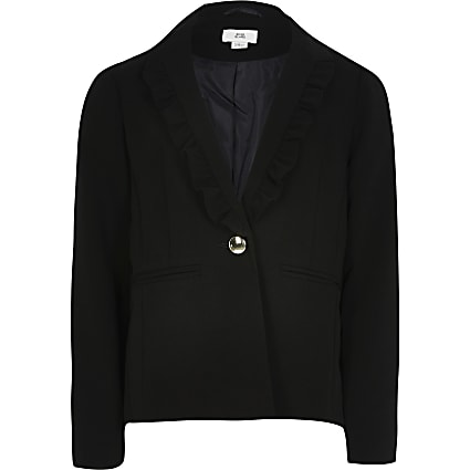 Girls black frill lapel blazer