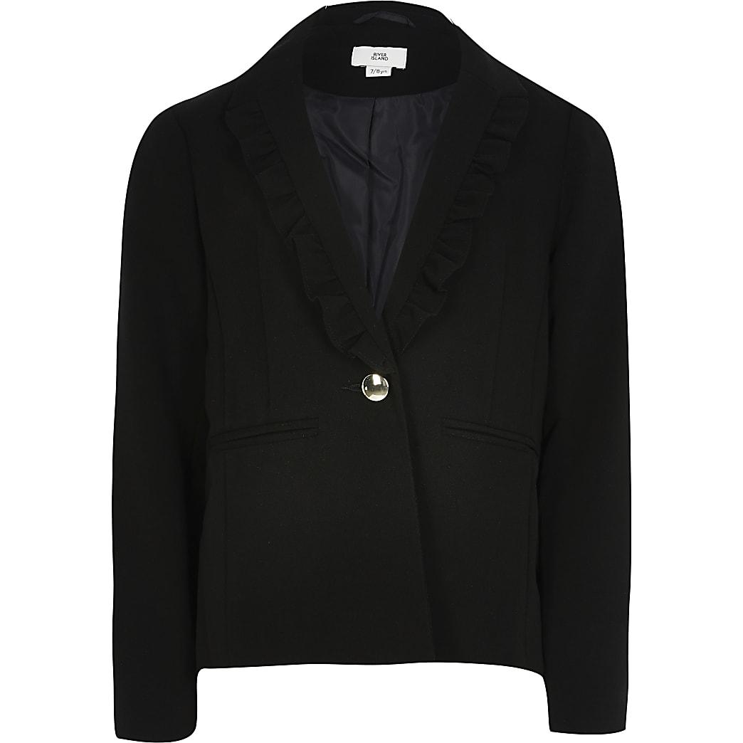 Girls black frill lapel blazer