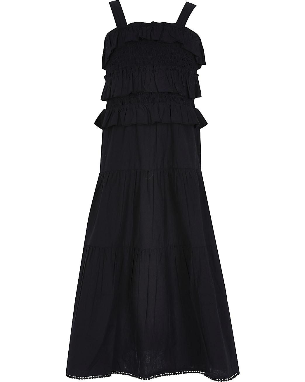Girls black frill maxi dress