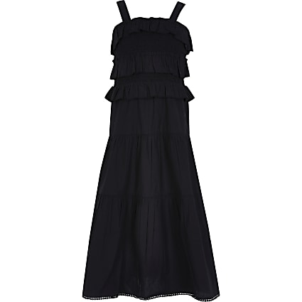Girls black frill maxi dress