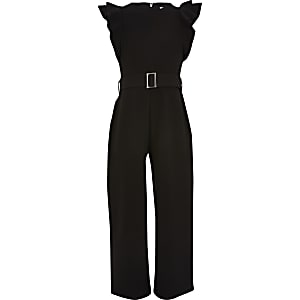 Girls black frill sleeve belted jumpsuit