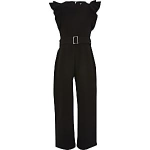 Zwarte jumpsuit met ceintuur en ruchemouwen voor meisjes