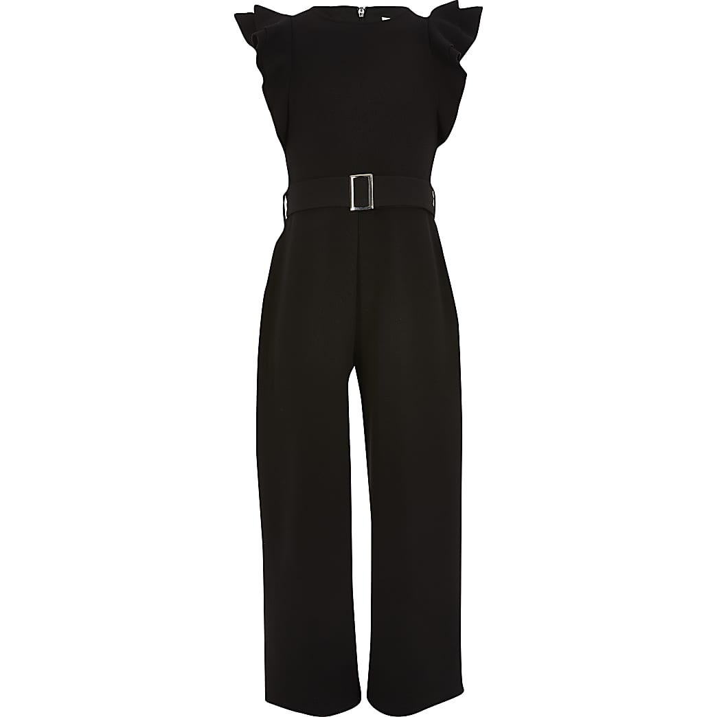Girls black frill sleeve belted jumpsuit