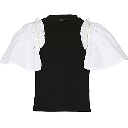 Girls black frill sleeve t-shirt
