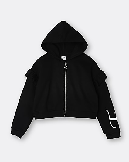 Girls black frill zip through hoodie