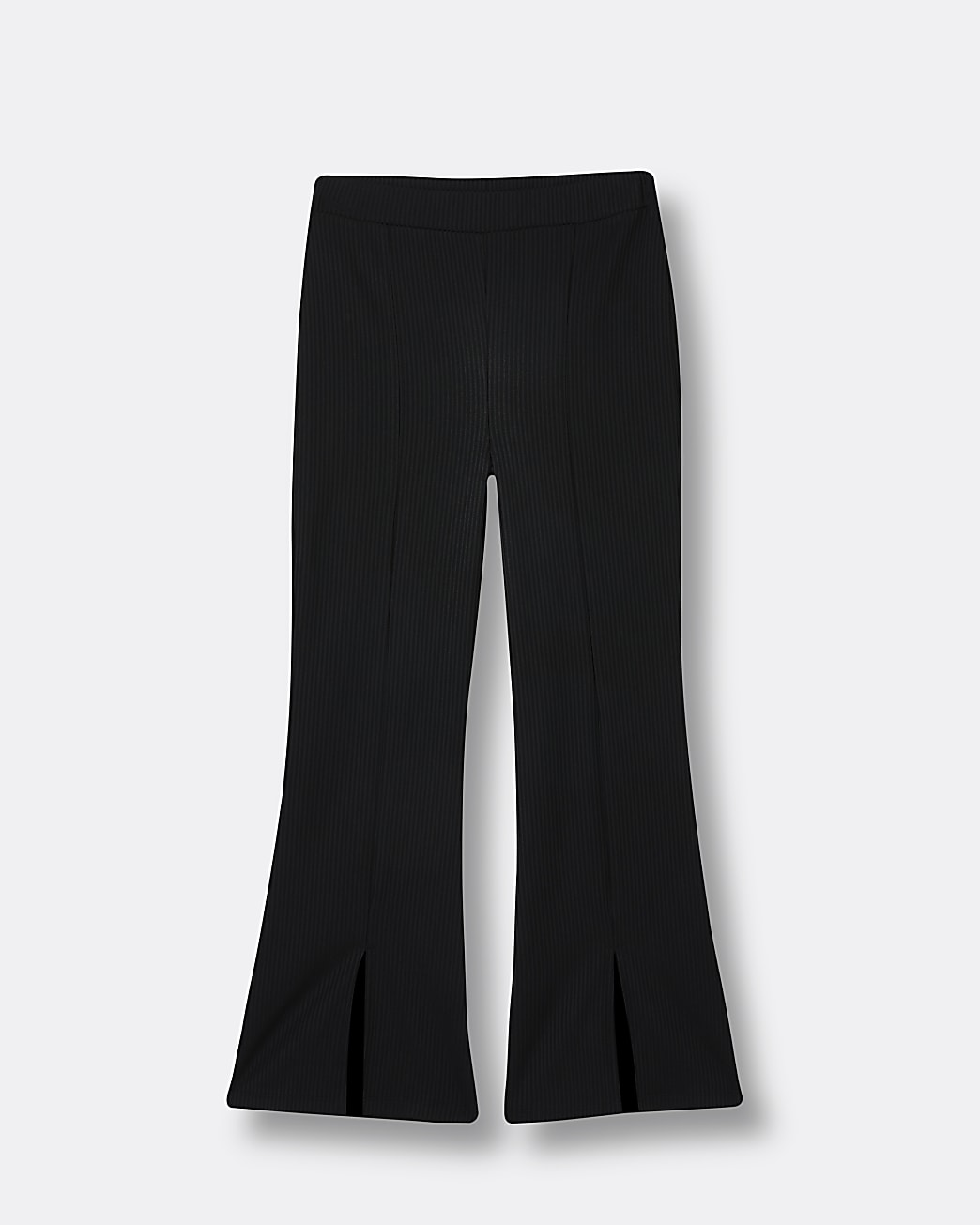 Girls black front split flare ribbed leggings