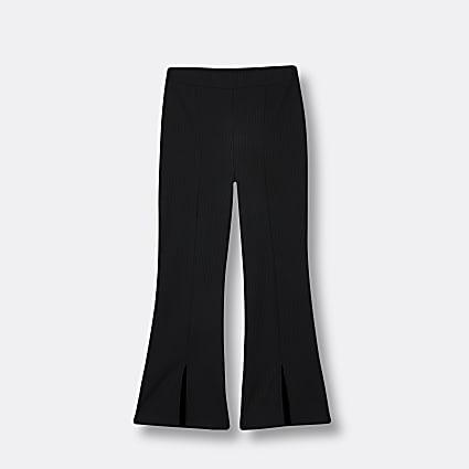 Girls black front split flared leggings
