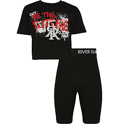 Girls black 'Future' t-shirt outfit