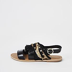 Sandales noires ornées de pierreries pour fille