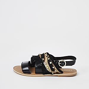 Zwarte sandalen met siersteentjes voor meisjes