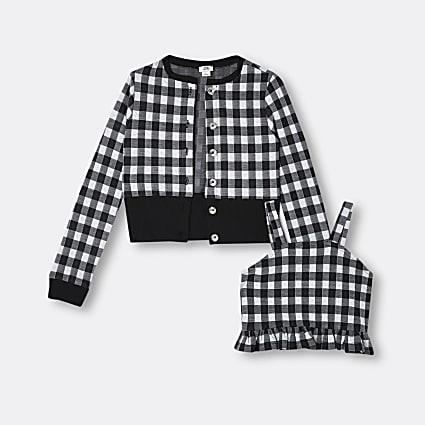 Girls black gingham cardigan and cami top set