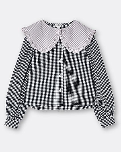 Girls black gingham collared shirt