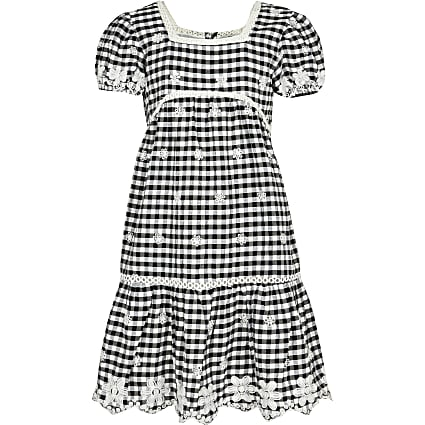 Girls black gingham dress