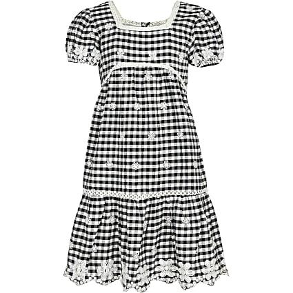 Girls black gingham dress