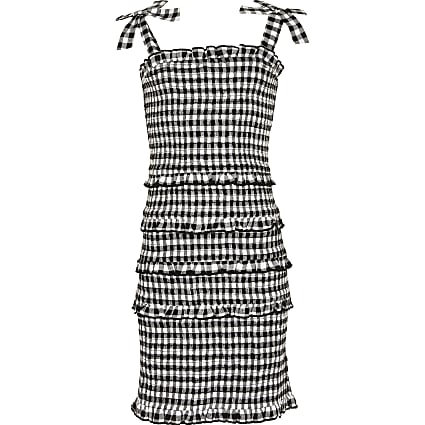 Girls black gingham fitted dress