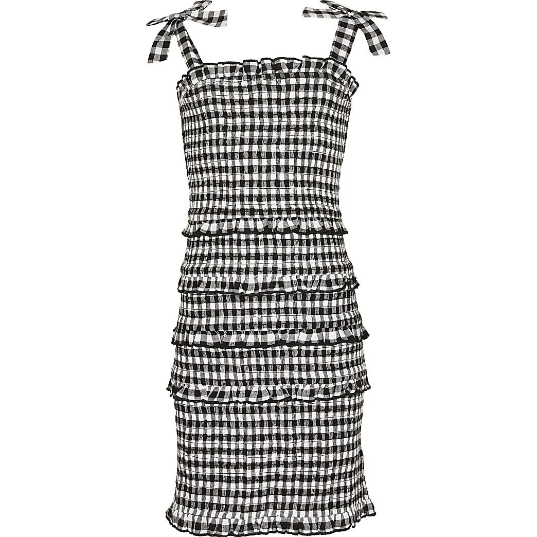 Girls black gingham fitted dress