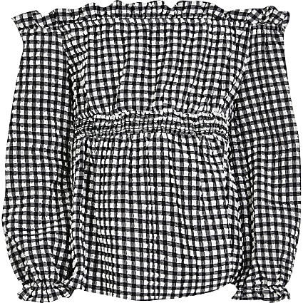 Girls black gingham long sleeve bardot top