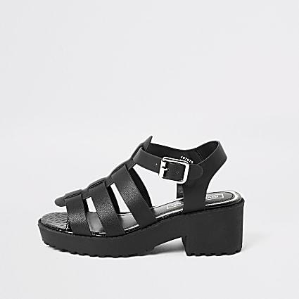 Girls black gladiator chunky heeled sandals