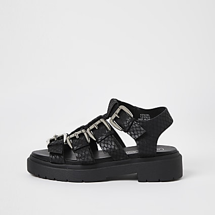 Girls black gladiator chunky sandals