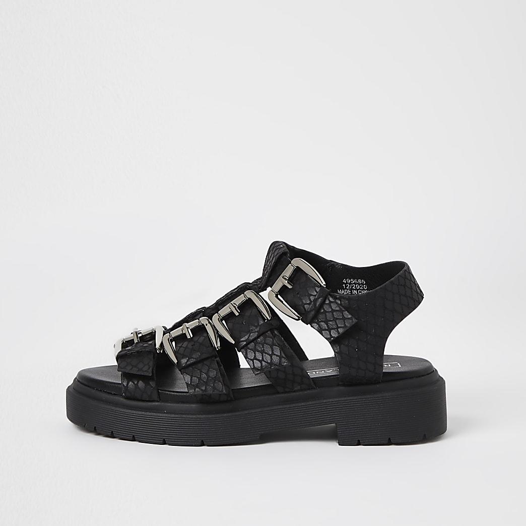 Girls black gladiator chunky sandals