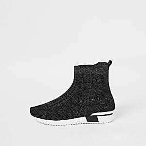 Zwarte gebreide hoge sneakersvoor meisjes